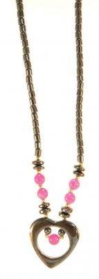 Collana Ematite - Ciondolo a Cuore con Perle Rosa