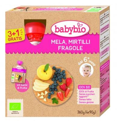 Purea di Frutta - Mela, Mirtilli e Fragole
