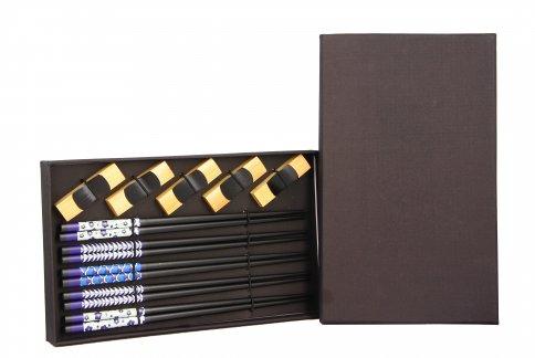 Set da 5 Paia di Bacchette Fantasia Blu