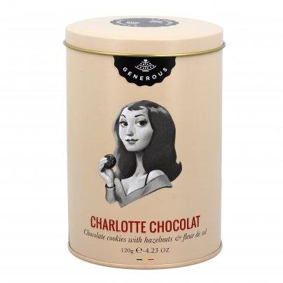 """Biscotti Cioccolato, Nocciole e Fior di Sale """"Charlotte Chocolat"""" - Barattolo Latta"""