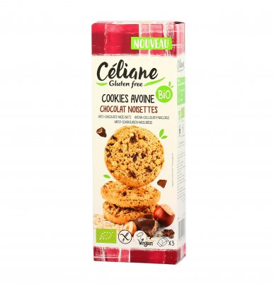 Biscotti Cookies Avena con Cioccolato e Nocciole Senza Glutine