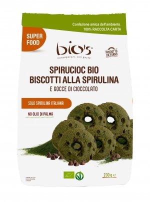 Biscotti alla Spirulina e Gocce di Cioccolato Bio - Spirucioc