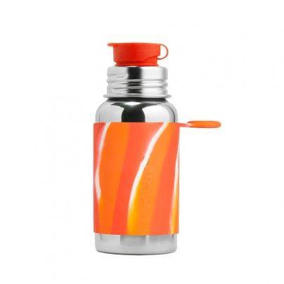 Borraccia in Acciaio da 550 ml con Tappo Sport Arancione Spirale