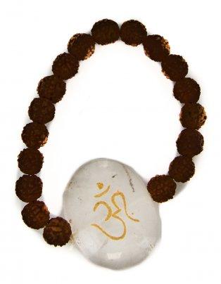 Bracciale Rudraksha Con Om su Cristallo di Rocca
