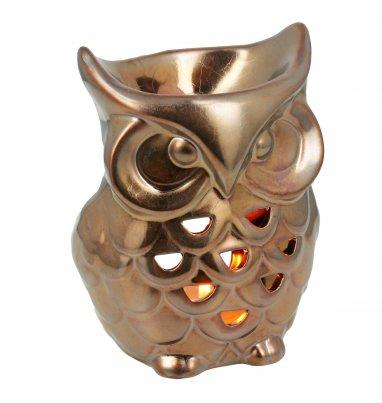 Brucia Essenze Gufo in Ceramica Metallizzato