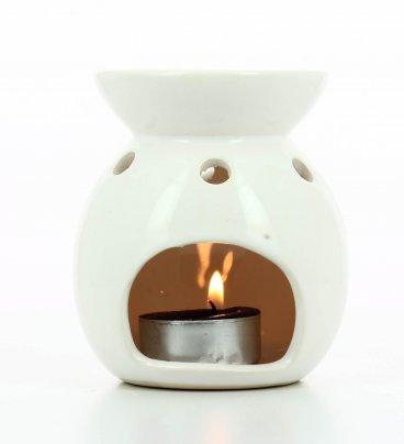 Brucia Essenze in Ceramica Etnico Bianco