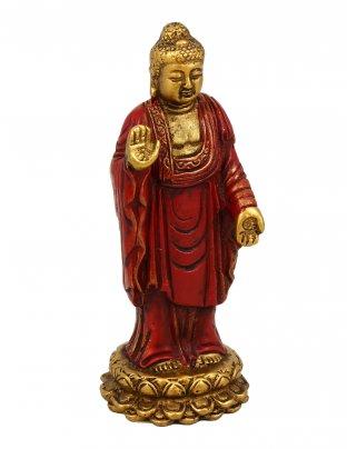 Statuetta Buddha in Piedi (Standing) Oro e Rosso