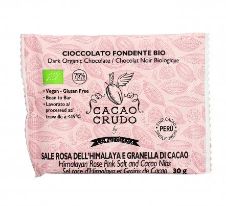 Cioccolato Fondente al Sale Rosa e Granella Cacao - Cacao Crudo