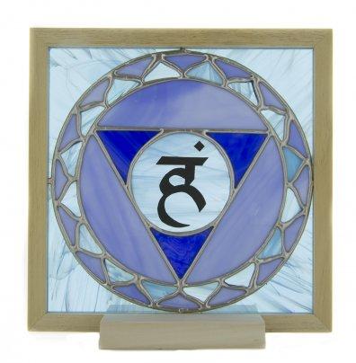 5° Chakra - Vetro Opalescente con Lettera Sanscrita Pellicolare + Lampada (da Retroilluminare)