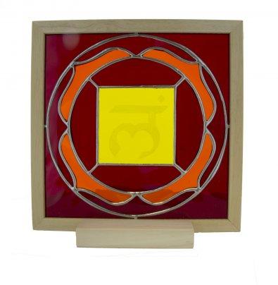 1° Chakra - Vetro Semitrasparente con Lettera Sanscrita Scolpita
