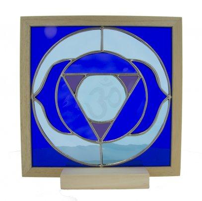 6° Chakra - Vetro Semitrasparente con Lettera Sanscrita Scolpita