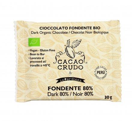 Tavoletta di Cioccolato Crudo Fondente 80% 30 gr.