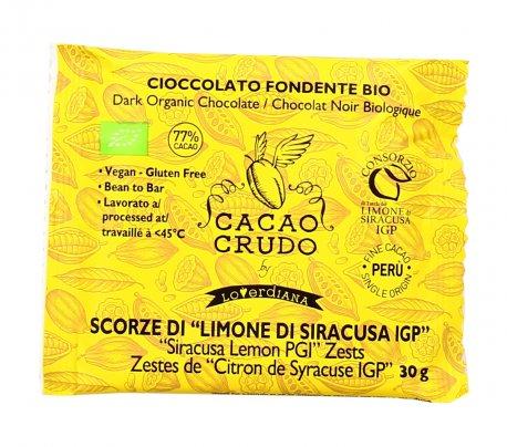 """Tavoletta di Cioccolato Fondente Bio con Scorze di """"Limone di Siracusa IGP"""""""