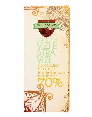"""Cioccolato Bio Extra Fondente con Mandorle 70% """"Vizi e Stravizi"""""""