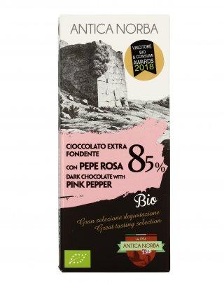 Cioccolato Extra Fondente 85% con Pepe Rosa