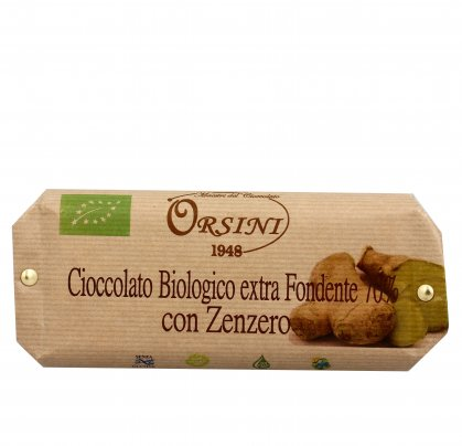 Cioccolato Bio Extra Fondente 70% con Zenzero