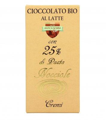 Cioccolato Bio con Pasta di Nocciole 25%