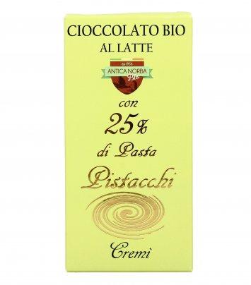 Cioccolato Latte Bio con Pasta di Pistacchi 25%