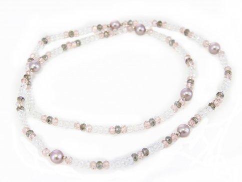 Collana-Bracciale con Cristalli Swarovski e + 5 Perle Rosa Top Naturali  in Argento