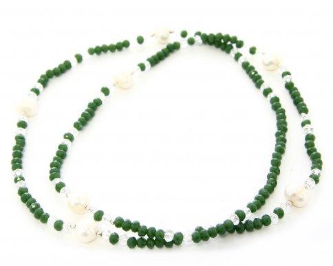 Collana-Bracciale in Argento con Cristalli Swarovski e 7 Perle Bianche Naturali