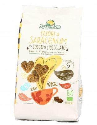 """Biscotti Germe di Grano Saraceno e Gocce di Cioccolato """"Cuori di Saracenum"""""""