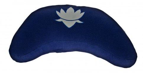 Cuscino Mezzaluna Kapok e Loto Ricamato Blu