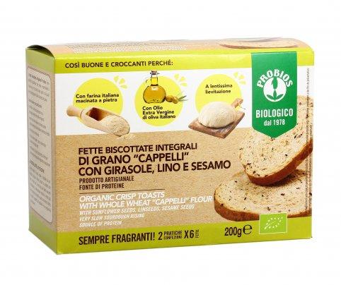 Fette Biscottate Integrali Grano Duro Cappelli con Girasole, Lino e Sesamo