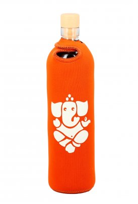 Bottiglia Vetro Programmato Neo Design Spiritual Ganesha Arancione