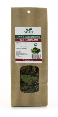 Foglie di Stevia Essicate Intere Rebaudiana Bertoni 25 gr