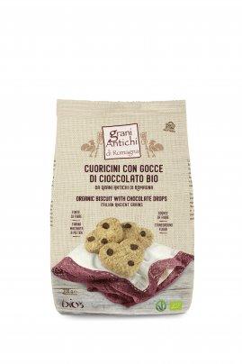 Biscotti Cuoricini Grani Antichi con Gocce di Cioccolato