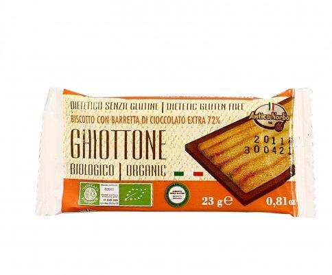 """Biscotto con Barretta di Cioccolato Fondente Extra 72% """"Ghiottone"""""""