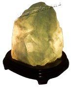 Lampada Fluorite Verde con Base in Legno