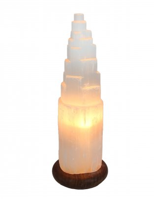 Lampada in Selenite Iceberg 35/40 cm (Base in legno)
