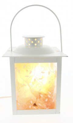 Lampada Lanterna ai Cristalli di Sale Elegante - 12x12x16,5 cm