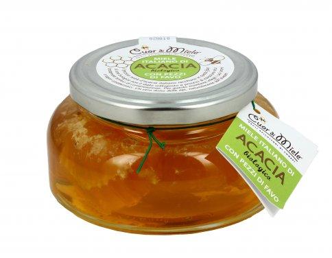 Miele di Acacia Biologico con Pezzi di Favo
