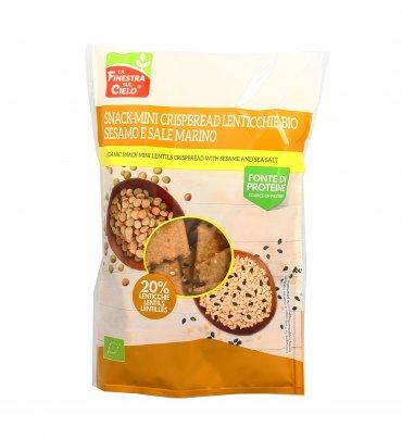 Crackers Snack Mini Crispbread Lenticchie, Sesamo e Sale Marino