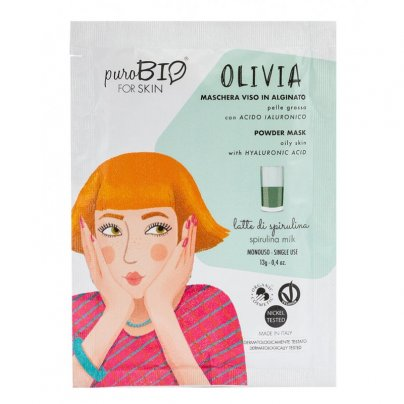 Maschera Viso Alginato per Pelle Grassa - Olivia Latte di Spirulina