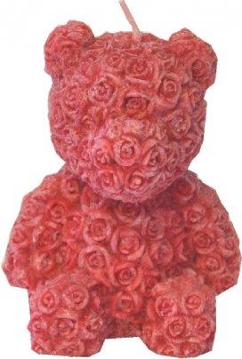 Candela Orsetto Profumata Effetto Marmorizzato - 10 cm. Rosso