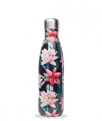 Bottiglia Termica - Fiori Tropicali (Nera)