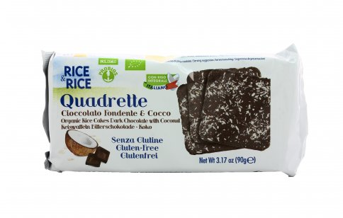 Quadrette Cioccolato Fondente e Cocco Senza Glutine