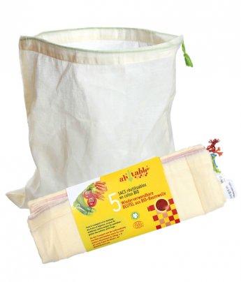 Sacchetti Frutta e Verdura Riutilizzabili in Cotone Bio 5 Sacchetti - Taglia M (27x20 Cm)
