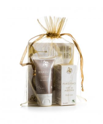 Sacchetto Regalo di Organza con Olio Argan Puro Roll-On + Rhassoul Cleansing Gel
