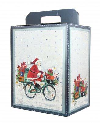 Scatola Natalizia Vuota - Babbo Natale in Bicicletta 33x25x35 cm
