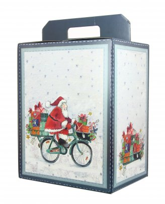 Scatola Natalizia Vuota - Babbo Natale in Bicicletta 280x200x350 cm