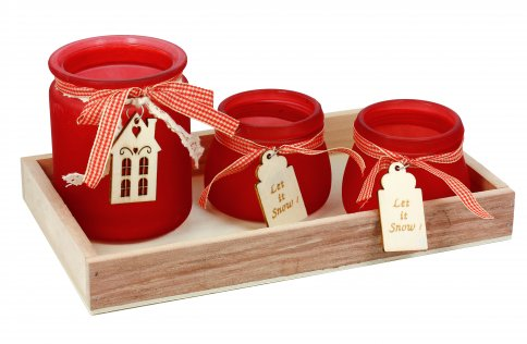 Set Natale di Portacandela in Vetro Rosso