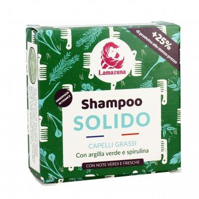 Shampoo Solido per Capelli Grassi con Argilla Verde e Spirulina
