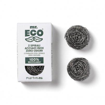 2 Spugne Pagliette Spirali Acciaio Inox Zero Odori - Mr. Eco