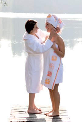 "Telo/Asciugamano da Mare ""Om"" Bianco"