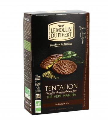 Biscotti con Tè Verde Matcha Ricoperti di Cioccolato al Latte - Tentation