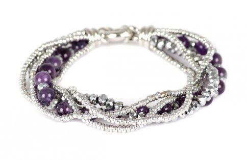 Bracciale Multifilo con Pietra Dura in Sfere, Cristalli e Perline Ametista